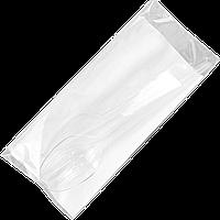 Приборы одноразовые, вилка, ложка, нож, салфетка барная. Цвет Прозрачный, 25шт/1уп, 1ящ/20уп