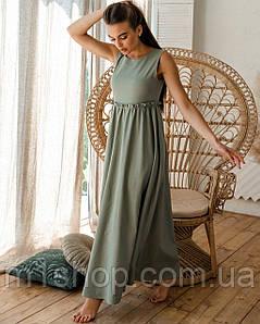 Льняное летнее длинное расклешенное платье с завышенной талией  (Лилиан ri)