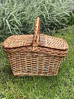 Корзина из лозы для пикника с крышкой «обычная» (26*46*25)