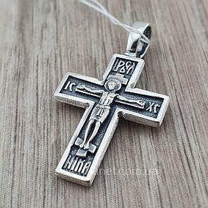 Двусторонний православный серебряный крестик из серебра