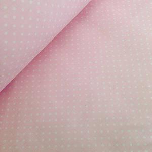 Хлопковая ткань польская белый горох на светло  розовом 4мм ОТРЕЗ (1,95*1,6)