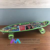 Скейтборд пенни борд детский для девочек мальчиков начинающих с ручкой со светящимися колесами penny board