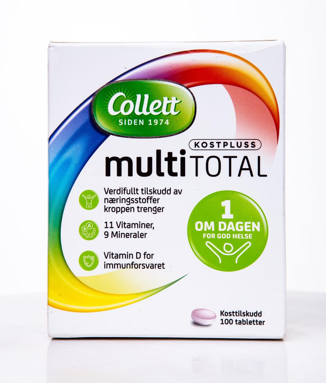 Витамины и минералы комплекс Collett Multi Total 100 таблеток Норвегия