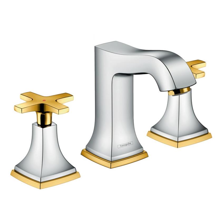 METROPOL Classic смеситель для умывальника двухвентильный хром/золото