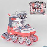 Ролики 5401-S Best Roller /размер 30-33/ цвет - КОРАЛОВЫЙ  (игрушки7), фото 2