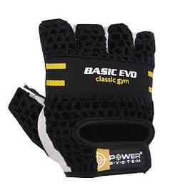 Рукавички для фітнесу шкіра+сітка Basic EVO Power System PS-2100, чорно-жовті
