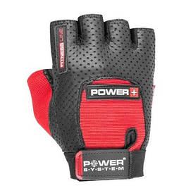 Рукавички спортивні чоловічі для тренажерного залу перфорація Plus Power PS-2500 System Power, чорний/червоний