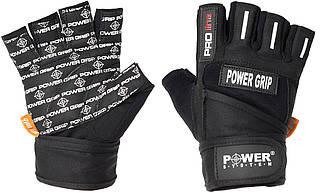 Рукавички для штангістів важкої атлетики з фіксатором зап'ястя Power Grip PS-2800 Power System, чорний