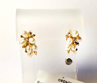 Золотые серьги с жемчугом Веточка Распродажа