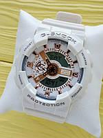 Спортивные кварцевые наручные часы Casio g-shock ga-110 (Касио джи шок) белые с золотым, CW622