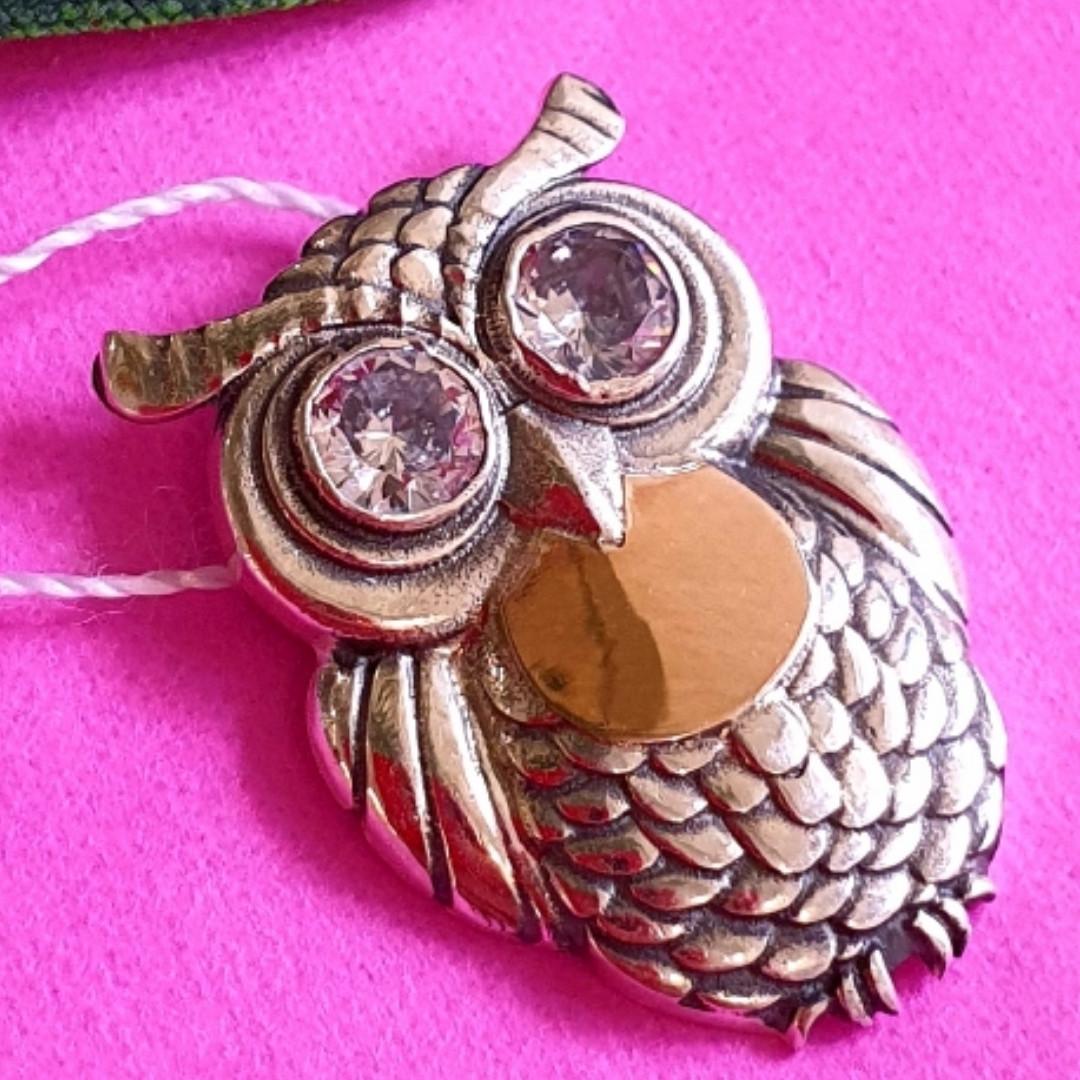 Серебряный кулон Сова - Подвеска Филин серебро с золотом
