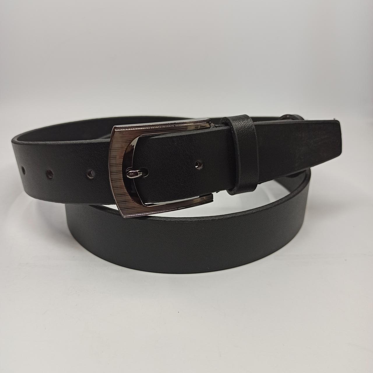 Мужской кожаный брючный ремень с классической пряжкой L042