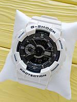 Спортивные кварцевые наручные часы Casio g-shock ga-110 (Касио джи шок) белые с серебром, CW624