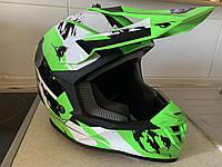 Мото кроссовый шлем салатовый  фулфейс GEON (эндуро, даунхил)