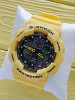 Спортивные кварцевые наручные часы Casio g-shock ga-100 (Касио джи шок) желтого цвета, CW625