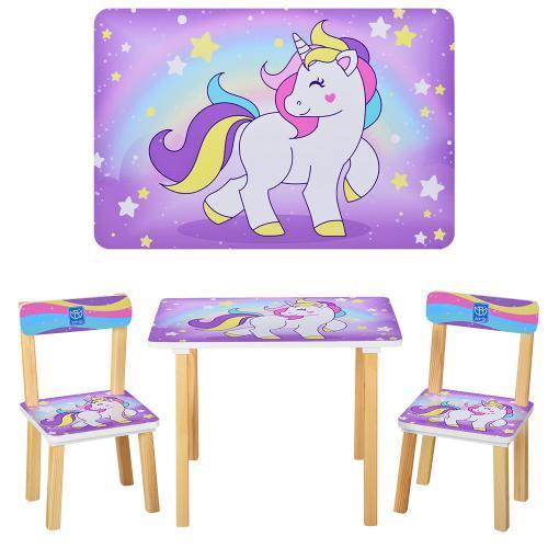 Детский стол со стульчиками Bambi Единорог Сиреневый (501-44-2)