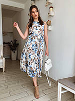 Женское легкое летнее платье трапеция из софта (40-46) (с поясом) без рукава