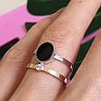 Серебряное брендовое кольцо с ониксои и золотом, фото 5