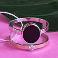 Серебряное брендовое кольцо с ониксои и золотом, фото 3