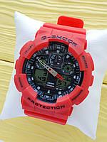 Спортивные кварцевые наручные часы Casio g-shock ga-100 (Касио джи шок) красного цвета, CW626