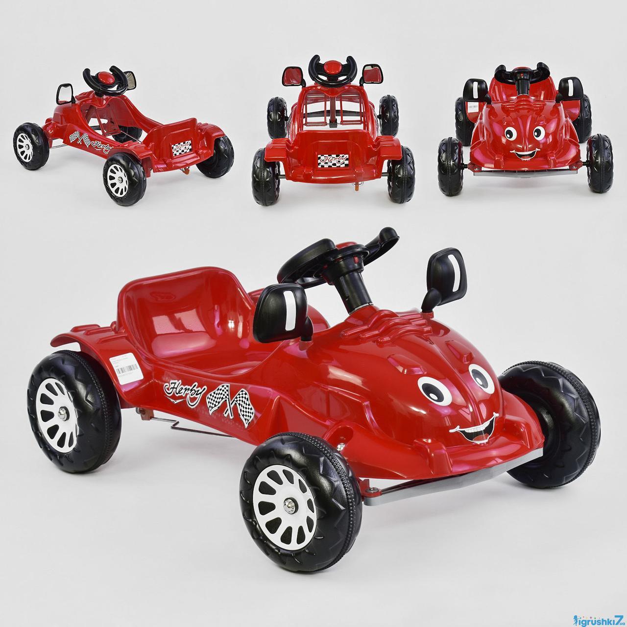 Машина педальная HERBY 07-302 (1) цвет КРАСНЫЙ в кульке (игрушки7)