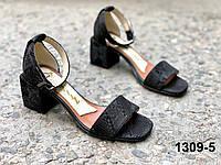 Босоножки женские кожаные черные на квадратном каблуке