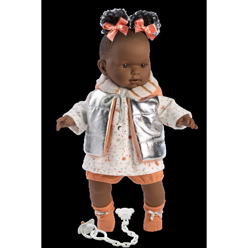Інтерактивна лялька LLorens Nicole 42см, що плаче (темношкіра модниця) 1429