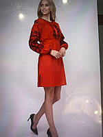Сукня червона вишита дизайнерська робота розмір L