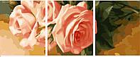 """Раскраска по номерам """"Триптих. Нежные розы"""" (вертикальная) (MS14048) 50х150 см"""