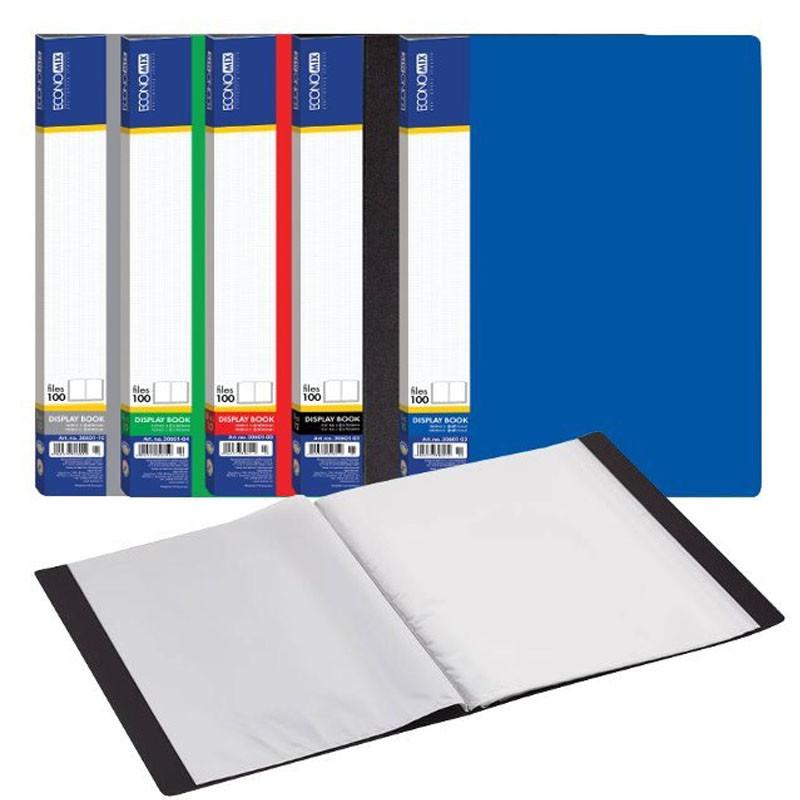 Папка пластиковая А4 Economix с 100 файлами(E30610)
