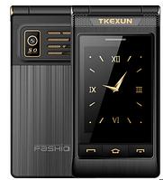 Кнопочный телефон раскладушка с большим дисплеем, 3g и камерой Tkexun G10-1 3G black