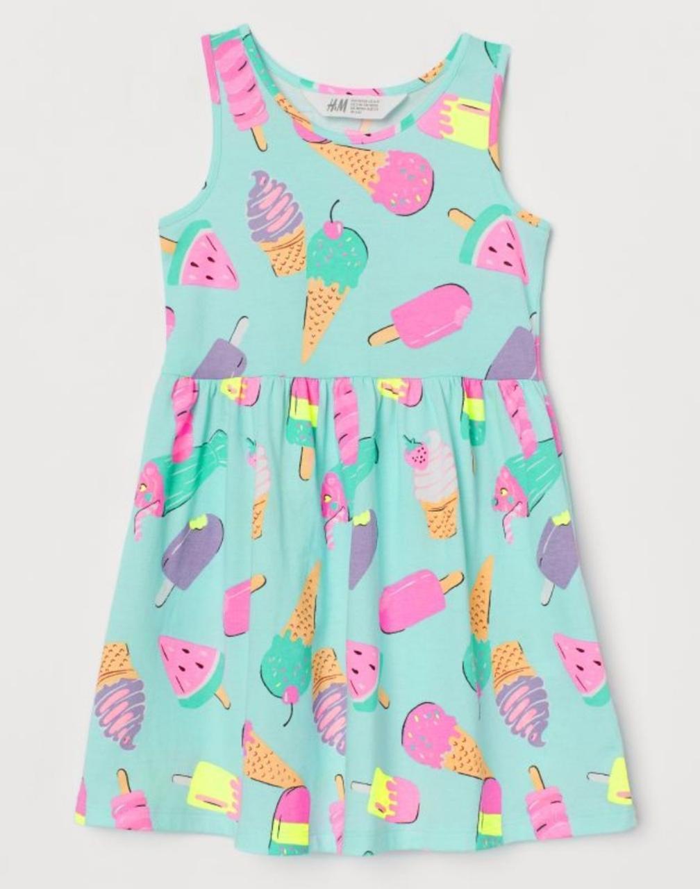 """Платье сарафан H&M """"Мороженое"""" для девочек (голубое) 2-4"""