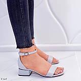 Босоножки женские серые эко кожа на каблуке 4 см, фото 2