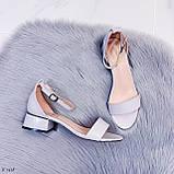 Босоножки женские серые эко кожа на каблуке 4 см, фото 9