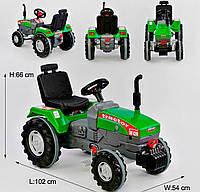 Трактор педальный веломобиль БОЛЬШОЙ, регулируемое сидение клаксон на руле, цепной, зелёный