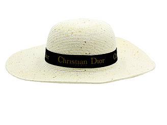 """Женская летняя пляжная шляпа канотье от солнца белого цвета с черной лентой """"Dior"""""""