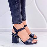Босоножки женские черные - питон на каблуке 8,5 см эко- кожа, фото 3