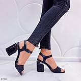 Босоножки женские черные - питон на каблуке 8,5 см эко- кожа, фото 6