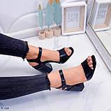 Босоножки женские черные - питон на каблуке 8,5 см эко- кожа, фото 4