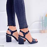 Босоножки женские черные - питон на каблуке 8,5 см эко- кожа, фото 8