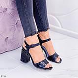Босоножки женские черные - питон на каблуке 8,5 см эко- кожа, фото 7