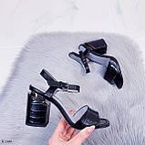 Босоножки женские черные - питон на каблуке 8,5 см эко- кожа, фото 9