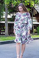 Летнее платье за колено, с резинкой на поясе, длинный рукав (40-46)
