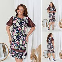 Платье женское большой размер 2839 (50 52 54 56) (цвета: синий, розовый, бежевый) СП