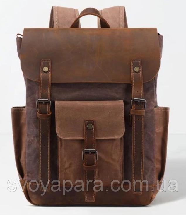 Рюкзак дорожный текстильный Vintage 20057 Коричневый