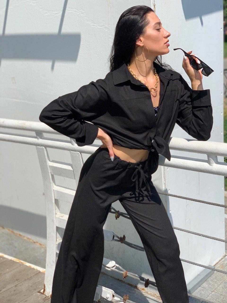 Льняний жіночий брючний костюм двійка з сорочкою 5810899