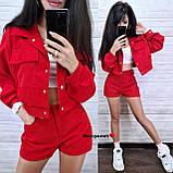 Вельветовый женский костюм с шортами и курткой 910902, фото 4