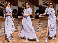 Платье макси спортивного типа с капюшоном и поясом, 3 цвета, Р-р.норма (S-M,L-XL) батал (50-52,54-56) Код 736Д