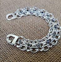 Мужской серебряный браслет с черными камнями