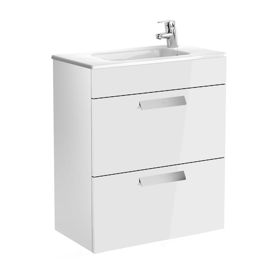 DEBBA шкафчик 60см, с 2мя ящиками, с умывальником, с сифоном, белый глянец